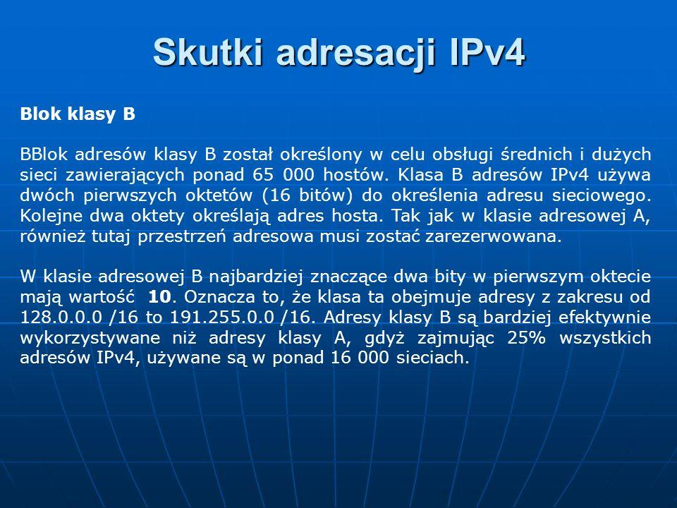 Blok klasy B BBlok adresów klasy B został określony w celu obsługi średnich i dużych sieci zawierających ponad 65 000 hostów. Klasa B adresów IPv4 uży