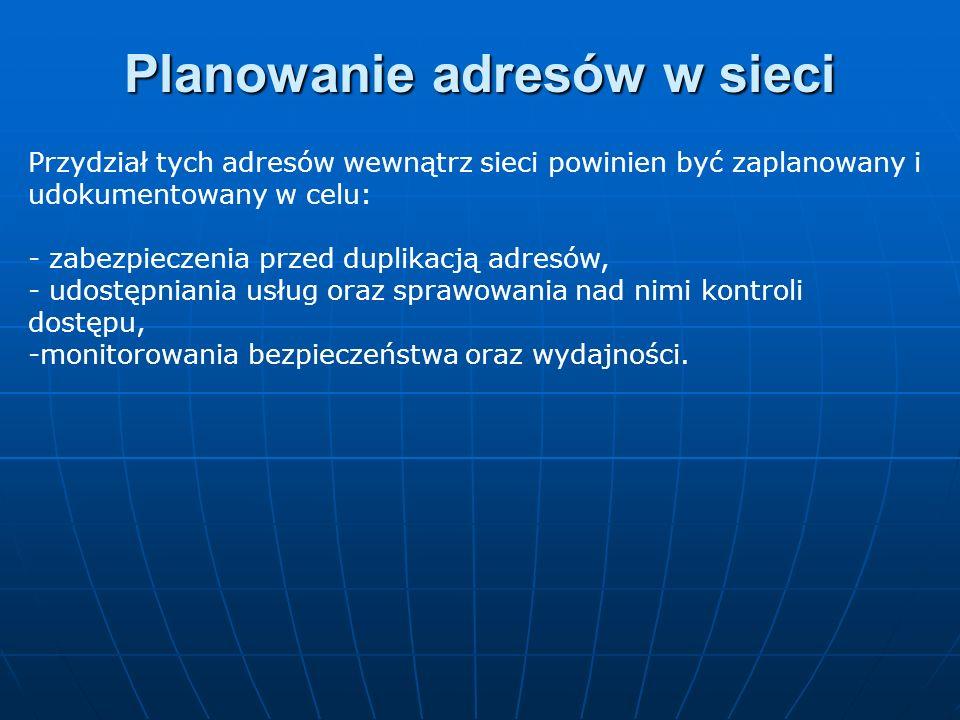Przydział tych adresów wewnątrz sieci powinien być zaplanowany i udokumentowany w celu: - zabezpieczenia przed duplikacją adresów, - udostępniania usł