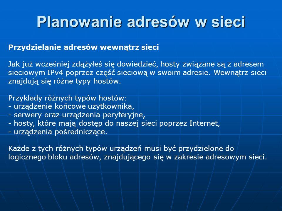 Przydzielanie adresów wewnątrz sieci Jak już wcześniej zdążyłeś się dowiedzieć, hosty związane są z adresem sieciowym IPv4 poprzez część sieciową w sw