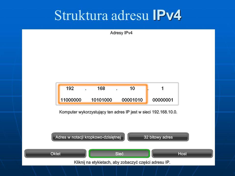 Adresy hostów Po odliczeniu zakresów adresów eksprymentalnych oraz adresów grupowych, do adresacji hostów w sieci IPv4 pozostają tylko adresy z zakresu od 0.0.0.0 do 223.255.255.255.