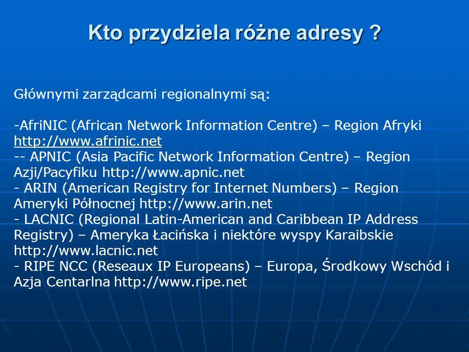 Głównymi zarządcami regionalnymi są: -AfriNIC (African Network Information Centre) – Region Afryki http://www.afrinic.net http://www.afrinic.net -- AP