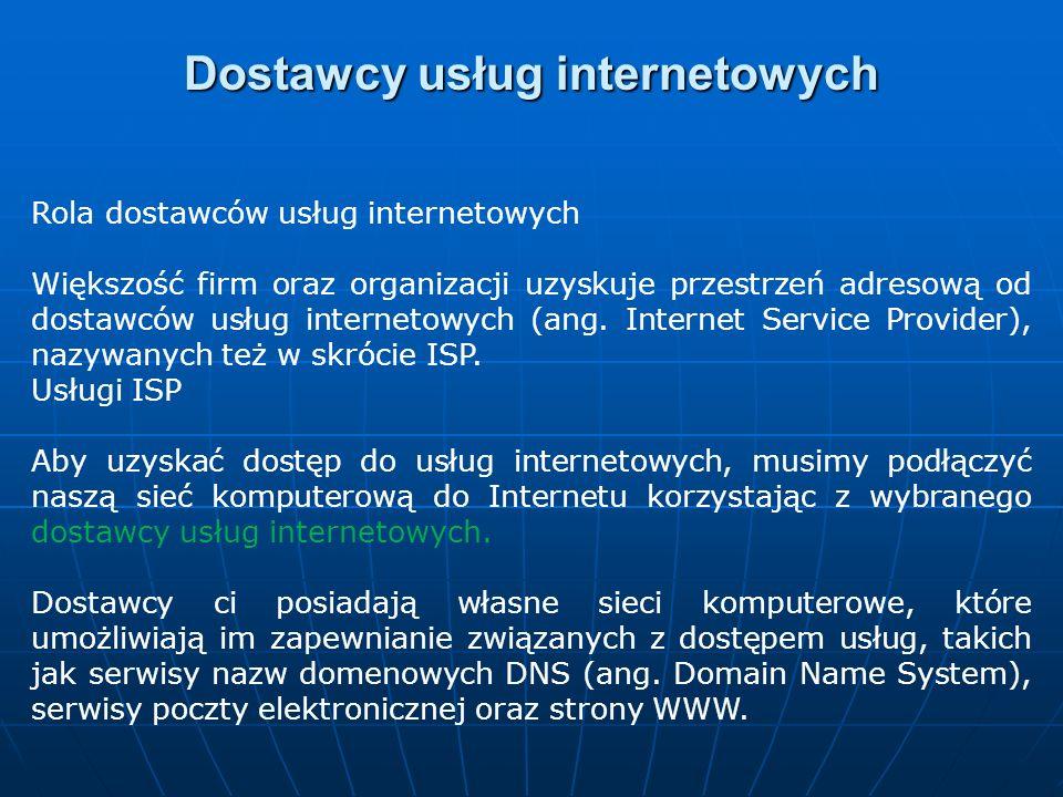 Dostawcy usług internetowych Rola dostawców usług internetowych Większość firm oraz organizacji uzyskuje przestrzeń adresową od dostawców usług intern