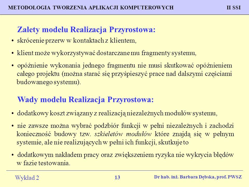 13 Wykład 2 PROGNOZOWANIE WŁAŚCIWOŚCI MATERIAŁÓW Inżynieria Materiałowa METODOLOGIA TWORZENIA APLIKACJI KOMPUTEROWYCH II SSI Dr hab.