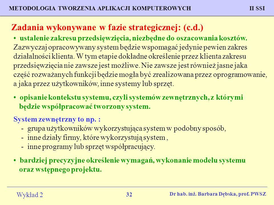 32 Wykład 2 PROGNOZOWANIE WŁAŚCIWOŚCI MATERIAŁÓW Inżynieria Materiałowa METODOLOGIA TWORZENIA APLIKACJI KOMPUTEROWYCH II SSI Dr hab.