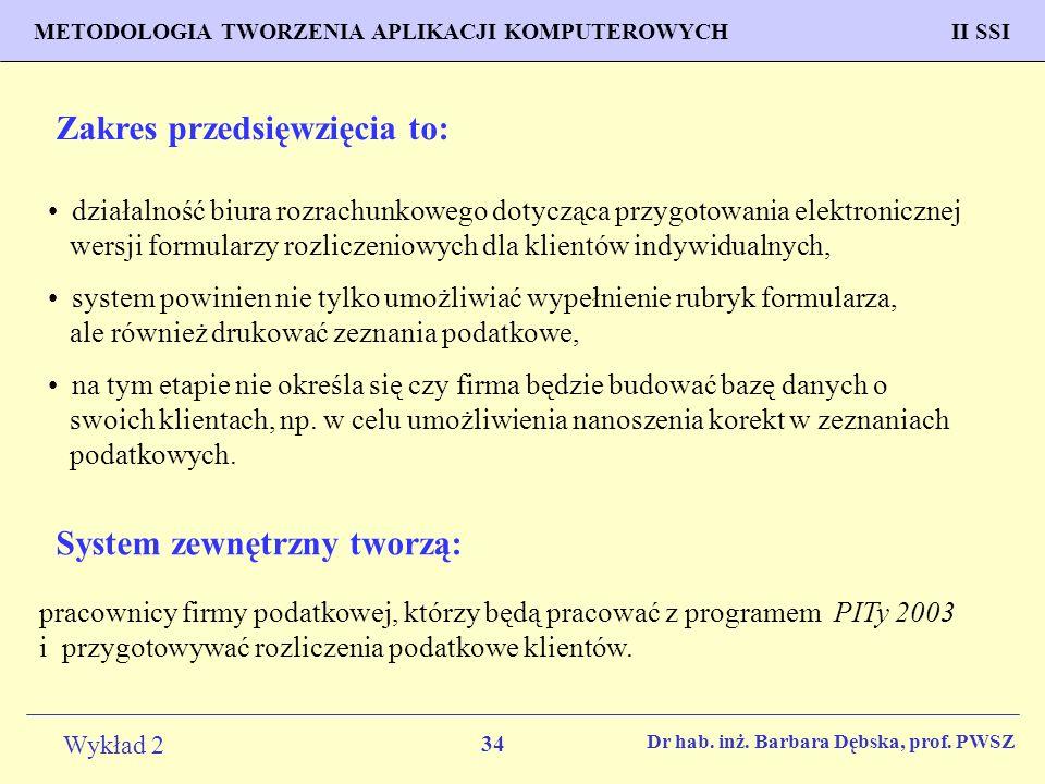 34 Wykład 2 PROGNOZOWANIE WŁAŚCIWOŚCI MATERIAŁÓW Inżynieria Materiałowa METODOLOGIA TWORZENIA APLIKACJI KOMPUTEROWYCH II SSI Dr hab.