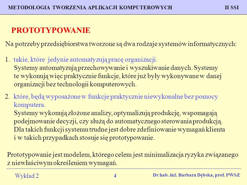 4 Wykład 2 PROGNOZOWANIE WŁAŚCIWOŚCI MATERIAŁÓW Inżynieria Materiałowa METODOLOGIA TWORZENIA APLIKACJI KOMPUTEROWYCH II SSI Dr hab.