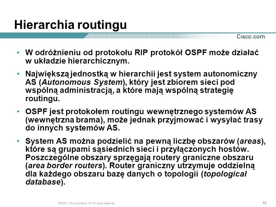 12 © 2003, Cisco Systems, Inc. All rights reserved. Hierarchia routingu W odróżnieniu od protokołu RIP protokół OSPF może działać w układzie hierarchi