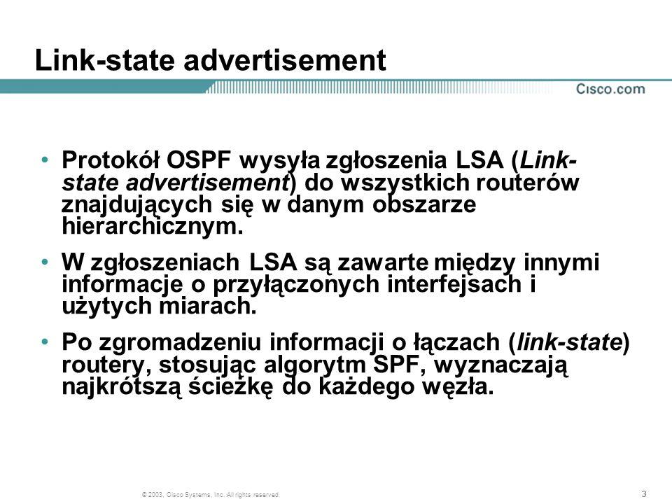 333 © 2003, Cisco Systems, Inc. All rights reserved. Link-state advertisement Protokół OSPF wysyła zgłoszenia LSA (Link- state advertisement) do wszys