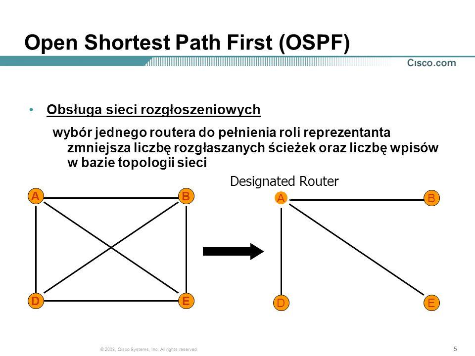 555 © 2003, Cisco Systems, Inc. All rights reserved. Open Shortest Path First (OSPF) Obsługa sieci rozgłoszeniowych wybór jednego routera do pełnienia