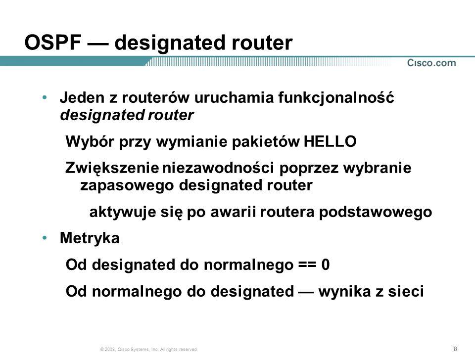 888 © 2003, Cisco Systems, Inc. All rights reserved. OSPF designated router Jeden z routerów uruchamia funkcjonalność designated router Wybór przy wym