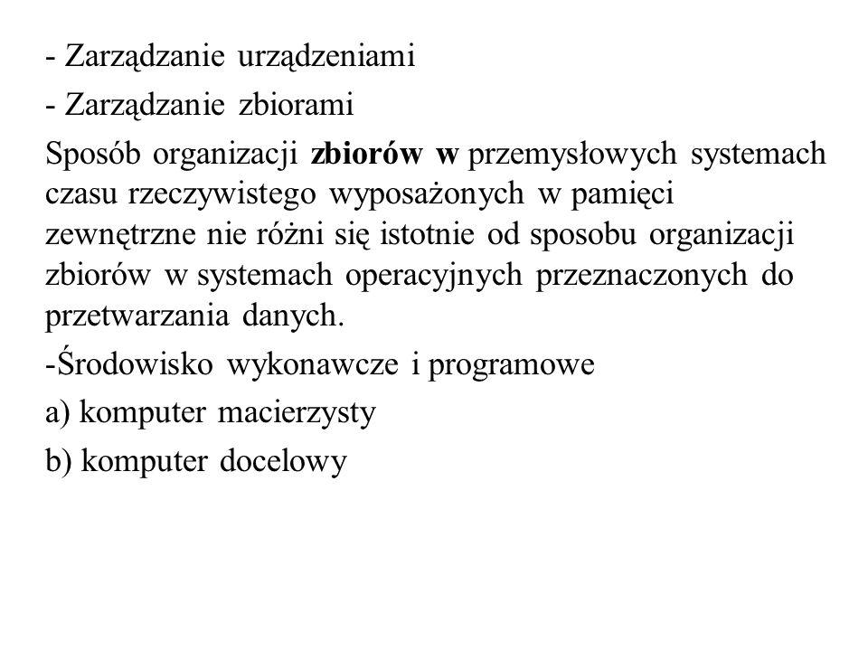 - Zarządzanie urządzeniami - Zarządzanie zbiorami Sposób organizacji zbiorów w przemysłowych systemach czasu rzeczywistego wyposażonych w pamięci zewn