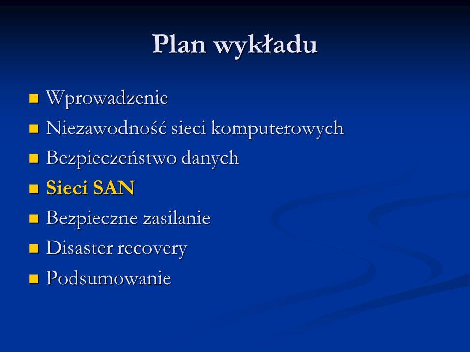 Plan wykładu Wprowadzenie Wprowadzenie Niezawodność sieci komputerowych Niezawodność sieci komputerowych Bezpieczeństwo danych Bezpieczeństwo danych S