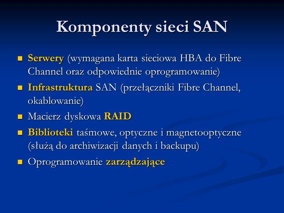 Komponenty sieci SAN Serwery (wymagana karta sieciowa HBA do Fibre Channel oraz odpowiednie oprogramowanie) Serwery (wymagana karta sieciowa HBA do Fi