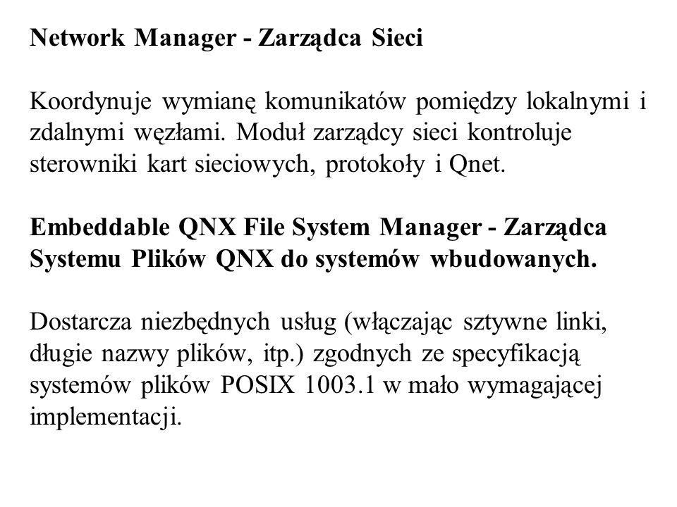Network Manager - Zarządca Sieci Koordynuje wymianę komunikatów pomiędzy lokalnymi i zdalnymi węzłami. Moduł zarządcy sieci kontroluje sterowniki kart