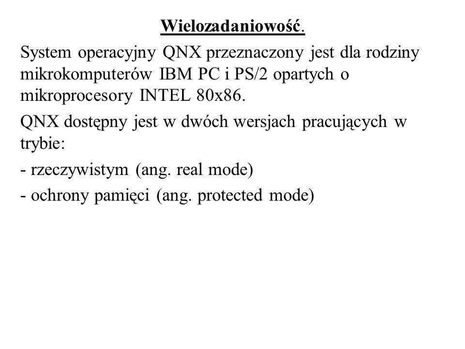 Wielozadaniowość. System operacyjny QNX przeznaczony jest dla rodziny mikrokomputerów IBM PC i PS/2 opartych o mikroprocesory INTEL 80x86. QNX dostępn
