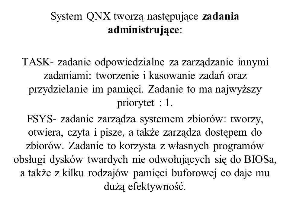 System QNX tworzą następujące zadania administrujące: TASK- zadanie odpowiedzialne za zarządzanie innymi zadaniami: tworzenie i kasowanie zadań oraz p