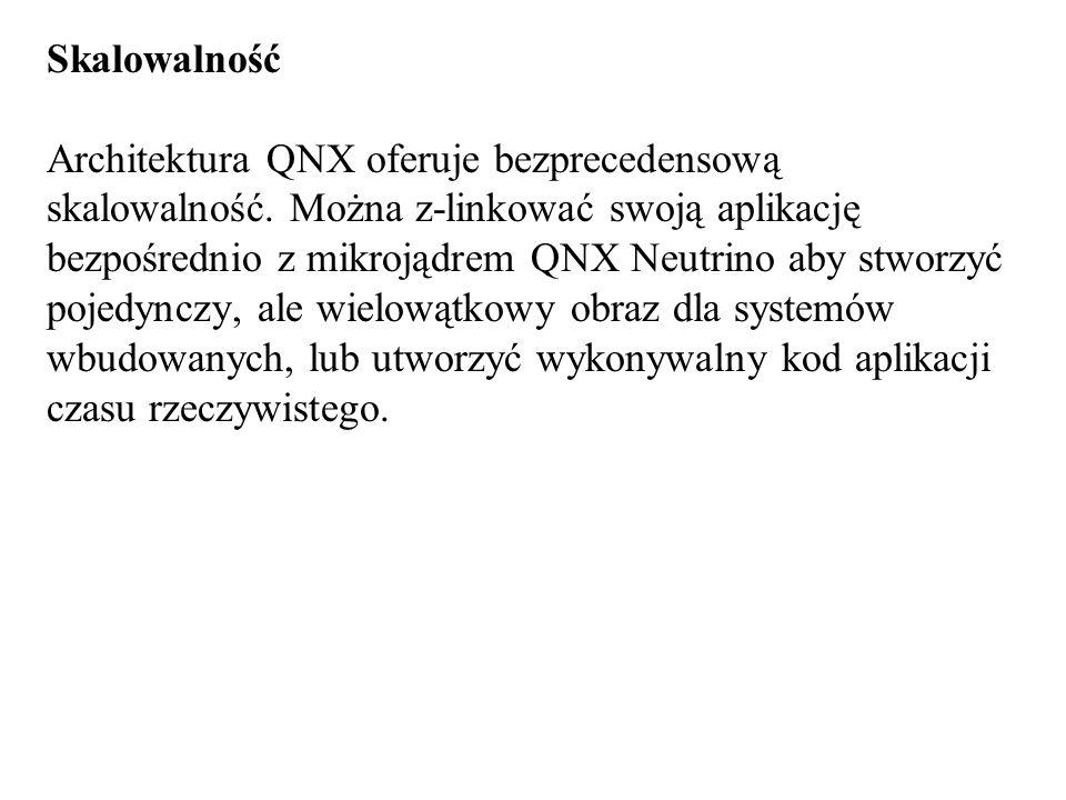 Skalowalność Architektura QNX oferuje bezprecedensową skalowalność. Można z-linkować swoją aplikację bezpośrednio z mikrojądrem QNX Neutrino aby stwor