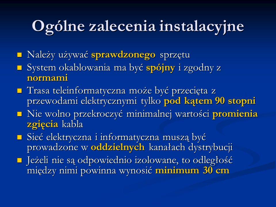 Ogólne zalecenia instalacyjne Należy używać sprawdzonego sprzętu Należy używać sprawdzonego sprzętu System okablowania ma być spójny i zgodny z normam
