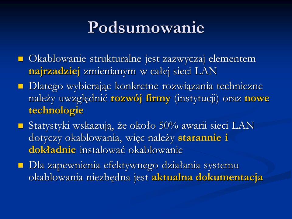 Podsumowanie Okablowanie strukturalne jest zazwyczaj elementem najrzadziej zmienianym w całej sieci LAN Okablowanie strukturalne jest zazwyczaj elemen