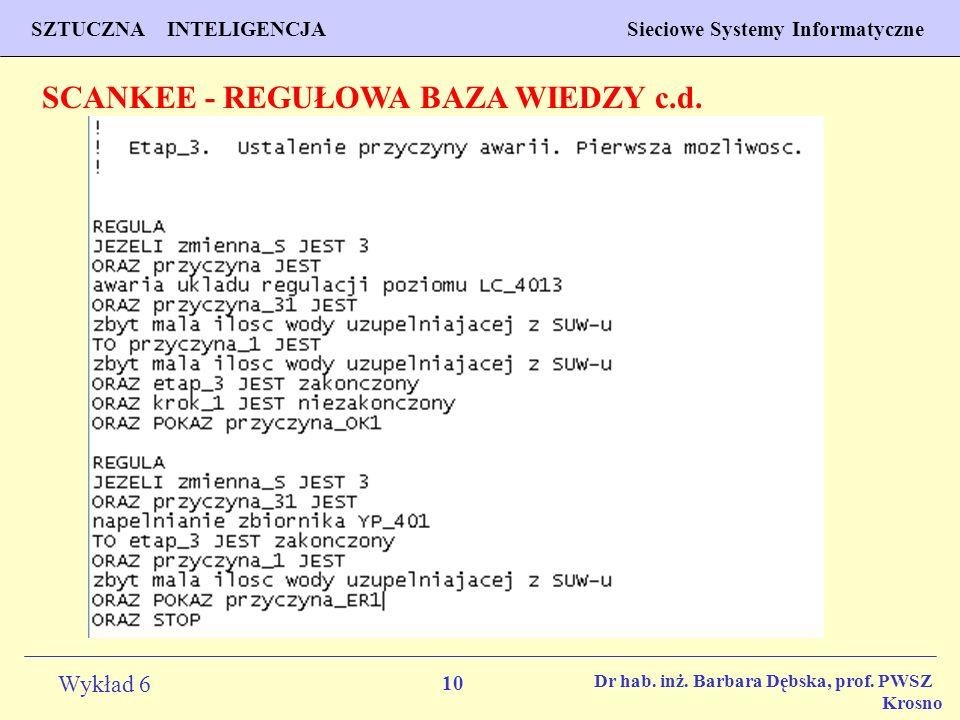 10 Wykład 6 SZTUCZNA INTELIGENCJA Sieciowe Systemy Informatyczne Dr hab. inż. Barbara Dębska, prof. PWSZ Krosno SCANKEE - REGUŁOWA BAZA WIEDZY c.d.