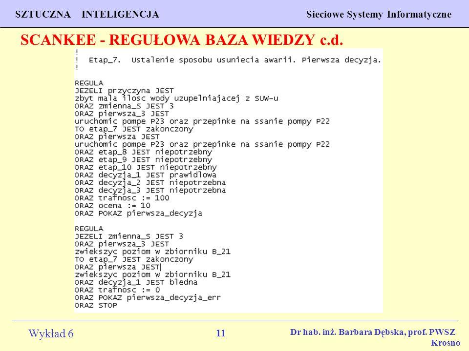 11 Wykład 6 SZTUCZNA INTELIGENCJA Sieciowe Systemy Informatyczne Dr hab. inż. Barbara Dębska, prof. PWSZ Krosno SCANKEE - REGUŁOWA BAZA WIEDZY c.d.