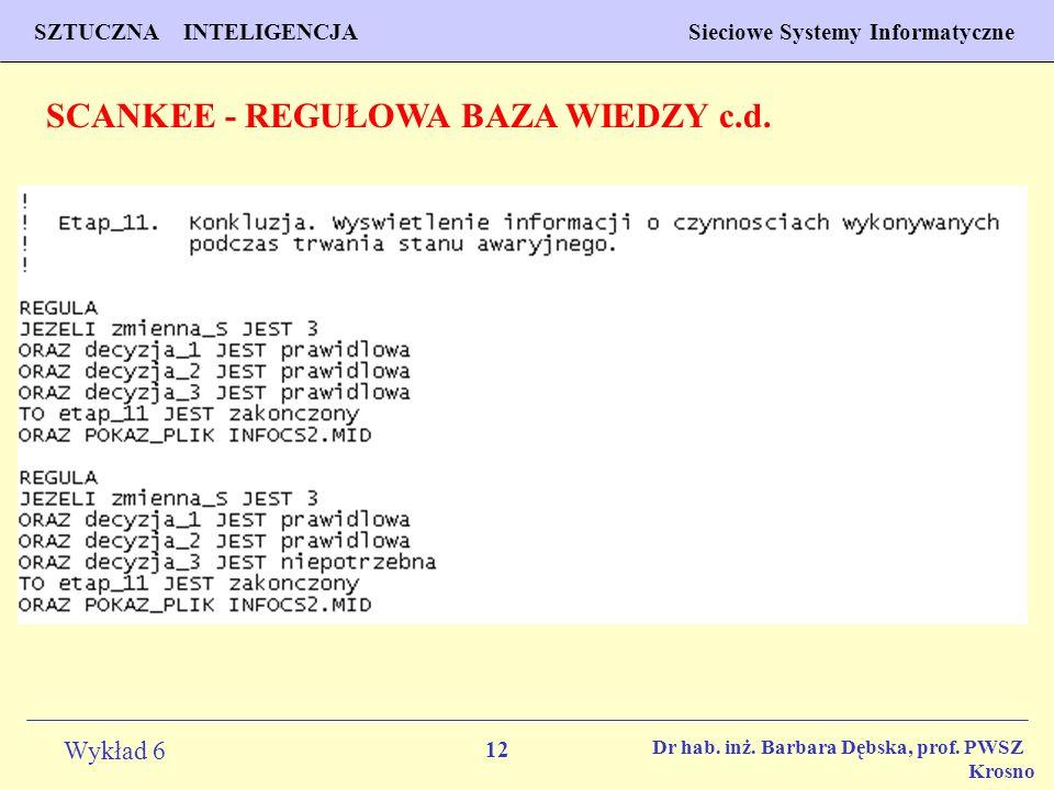 12 Wykład 6 SZTUCZNA INTELIGENCJA Sieciowe Systemy Informatyczne Dr hab. inż. Barbara Dębska, prof. PWSZ Krosno SCANKEE - REGUŁOWA BAZA WIEDZY c.d.
