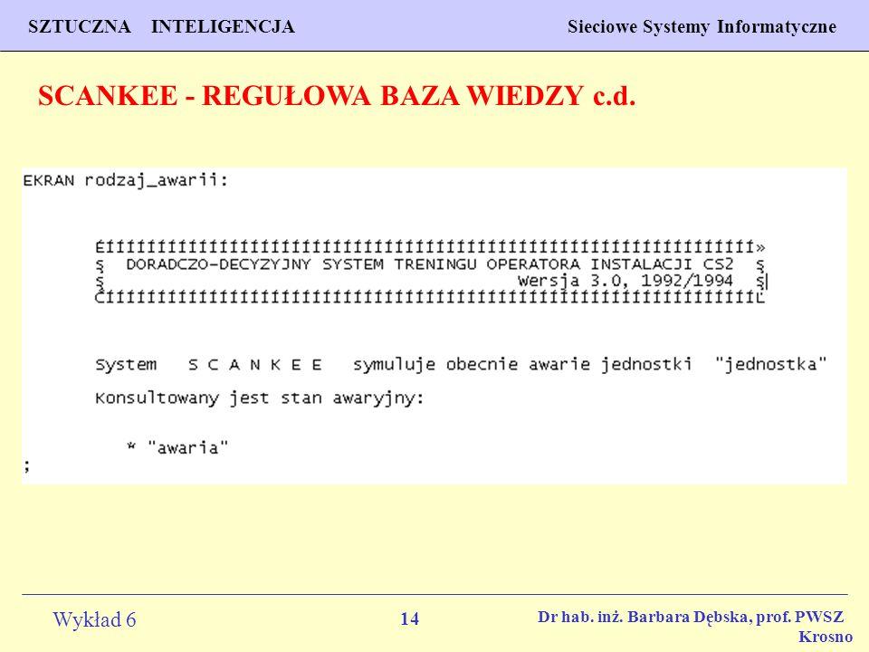 14 Wykład 6 SZTUCZNA INTELIGENCJA Sieciowe Systemy Informatyczne Dr hab. inż. Barbara Dębska, prof. PWSZ Krosno SCANKEE - REGUŁOWA BAZA WIEDZY c.d.