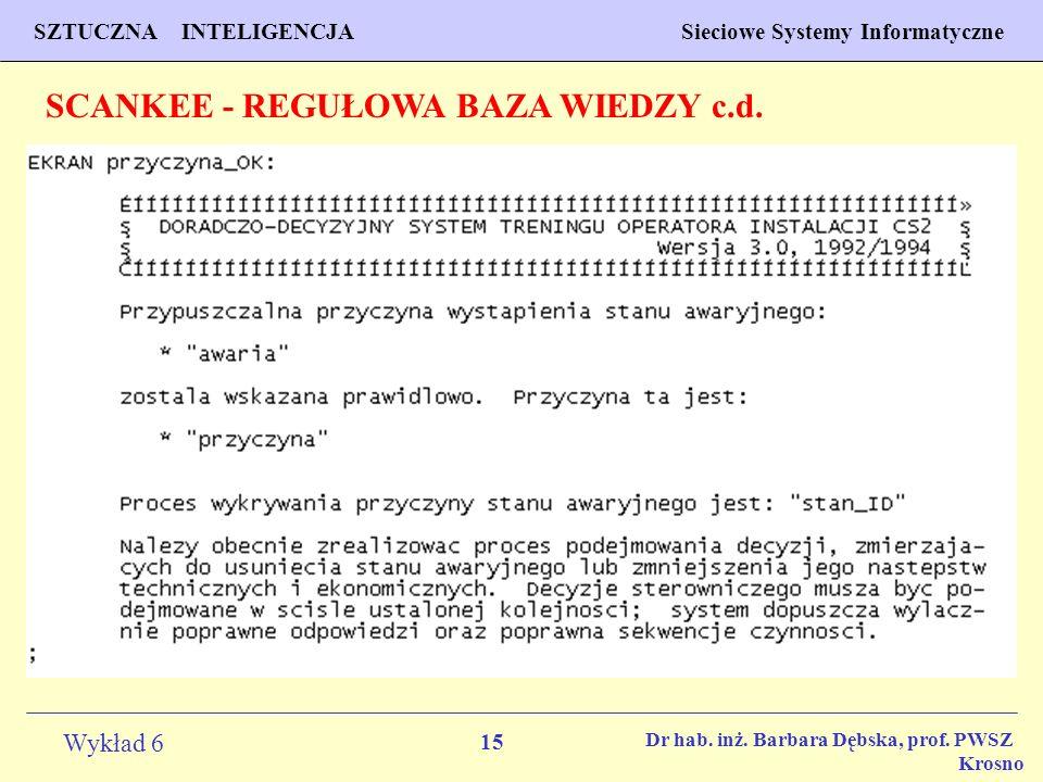 15 Wykład 6 SZTUCZNA INTELIGENCJA Sieciowe Systemy Informatyczne Dr hab. inż. Barbara Dębska, prof. PWSZ Krosno SCANKEE - REGUŁOWA BAZA WIEDZY c.d.