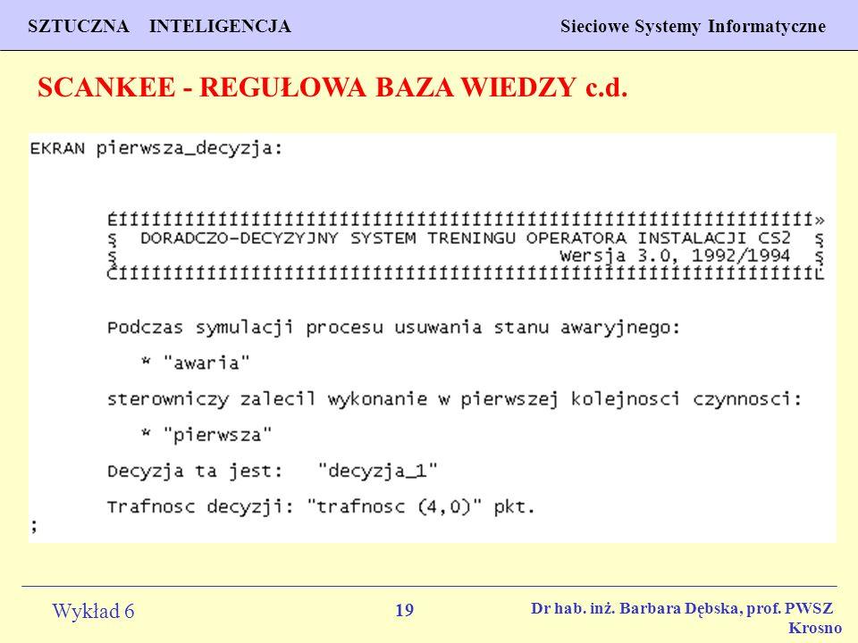 19 Wykład 6 SZTUCZNA INTELIGENCJA Sieciowe Systemy Informatyczne Dr hab. inż. Barbara Dębska, prof. PWSZ Krosno SCANKEE - REGUŁOWA BAZA WIEDZY c.d.