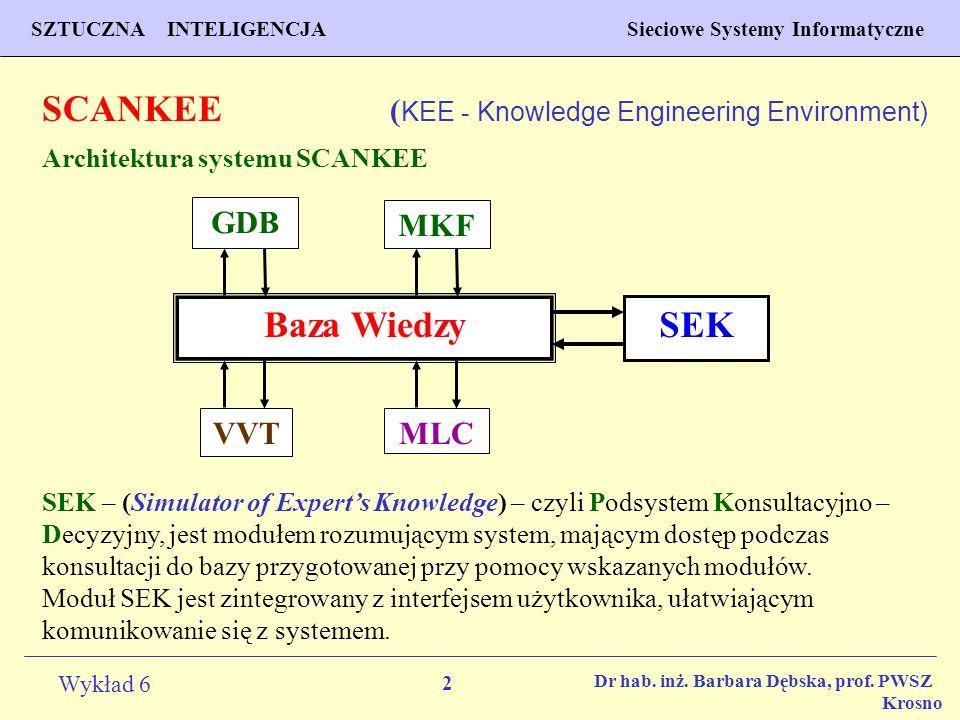 2 Wykład 6 SZTUCZNA INTELIGENCJA Sieciowe Systemy Informatyczne Dr hab. inż. Barbara Dębska, prof. PWSZ Krosno SCANKEE ( KEE - Knowledge Engineering E