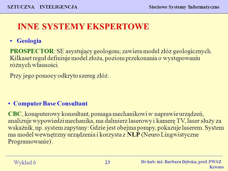 23 Wykład 6 SZTUCZNA INTELIGENCJA Sieciowe Systemy Informatyczne Dr hab. inż. Barbara Dębska, prof. PWSZ Krosno INNE SYSTEMY EKSPERTOWE Geologia PROSP