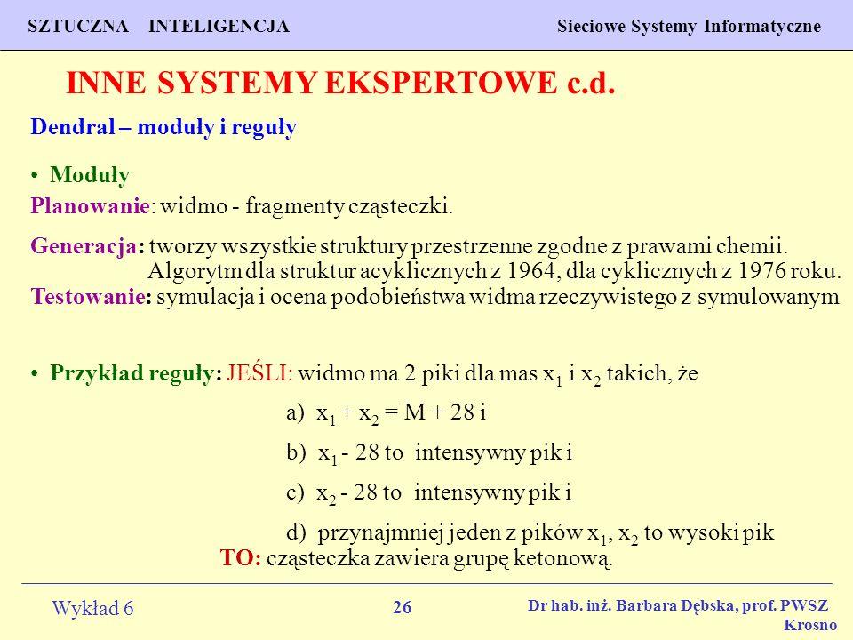 26 Wykład 6 SZTUCZNA INTELIGENCJA Sieciowe Systemy Informatyczne Dr hab. inż. Barbara Dębska, prof. PWSZ Krosno INNE SYSTEMY EKSPERTOWE c.d. Dendral –