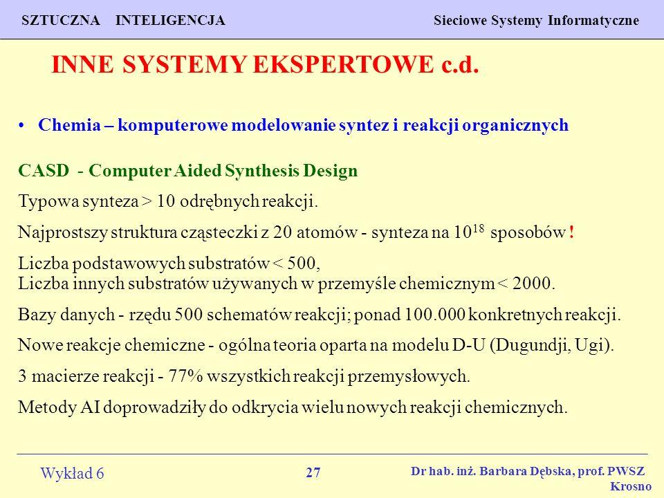 27 Wykład 6 SZTUCZNA INTELIGENCJA Sieciowe Systemy Informatyczne Dr hab. inż. Barbara Dębska, prof. PWSZ Krosno INNE SYSTEMY EKSPERTOWE c.d. Chemia –