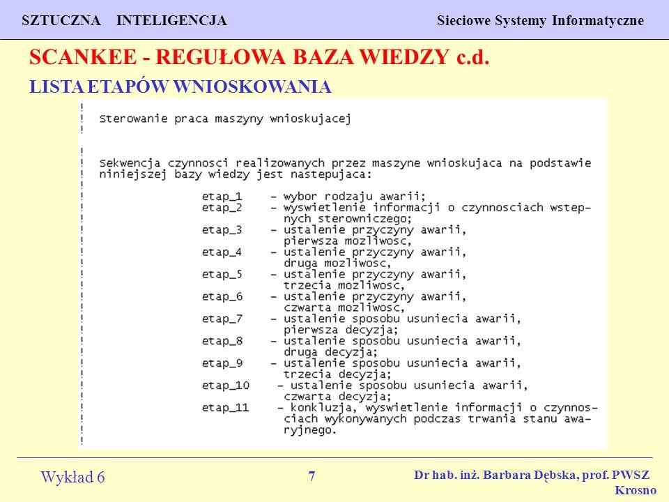 7 Wykład 6 SZTUCZNA INTELIGENCJA Sieciowe Systemy Informatyczne Dr hab. inż. Barbara Dębska, prof. PWSZ Krosno LISTA ETAPÓW WNIOSKOWANIA SCANKEE - REG