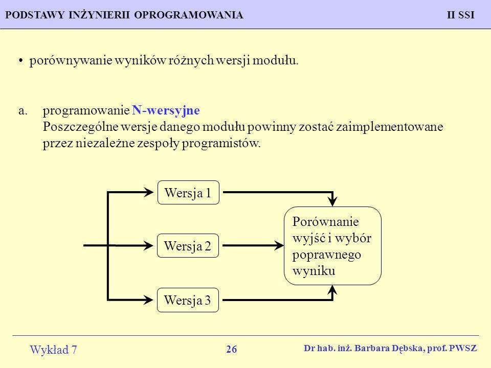 26 Wykład 7 PROGNOZOWANIE WŁAŚCIWOŚCI MATERIAŁÓW Inżynieria Materiałowa METODOLOGIA TWORZENIA APLIKACJI KOMPUTEROWYCH II SSIPODSTAWY INŻYNIERII OPROGR