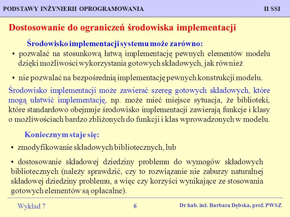 17 Wykład 7 PROGNOZOWANIE WŁAŚCIWOŚCI MATERIAŁÓW Inżynieria Materiałowa METODOLOGIA TWORZENIA APLIKACJI KOMPUTEROWYCH II SSIPODSTAWY INŻYNIERII OPROGRAMOWANIAII SSI Dr hab.