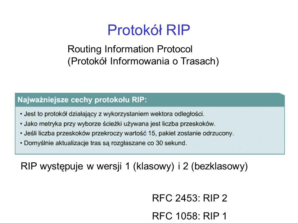 Protokół RIP RIP występuje w wersji 1 (klasowy) i 2 (bezklasowy) Routing Information Protocol (Protokół Informowania o Trasach) RFC 2453: RIP 2 RFC 10