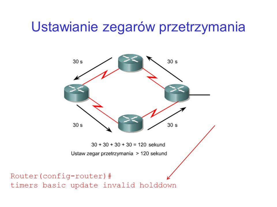 Ustawianie zegarów przetrzymania Router(config-router)# timers basic update invalid holddown