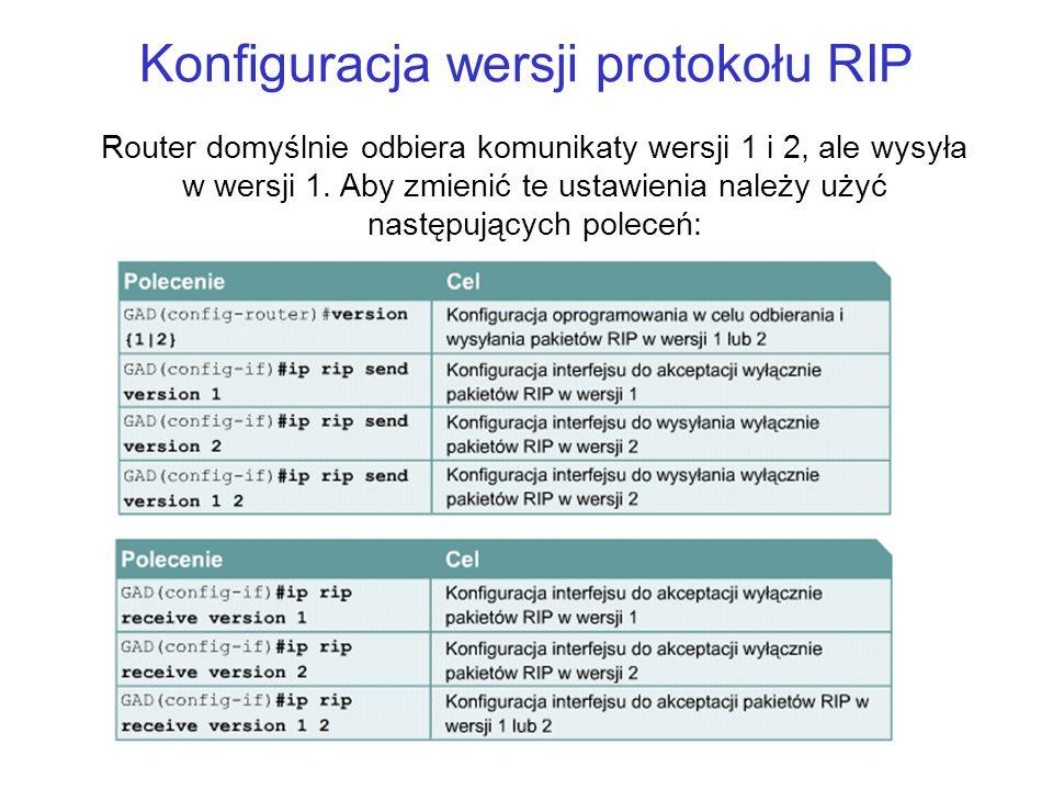 Konfiguracja wersji protokołu RIP Router domyślnie odbiera komunikaty wersji 1 i 2, ale wysyła w wersji 1. Aby zmienić te ustawienia należy użyć nastę