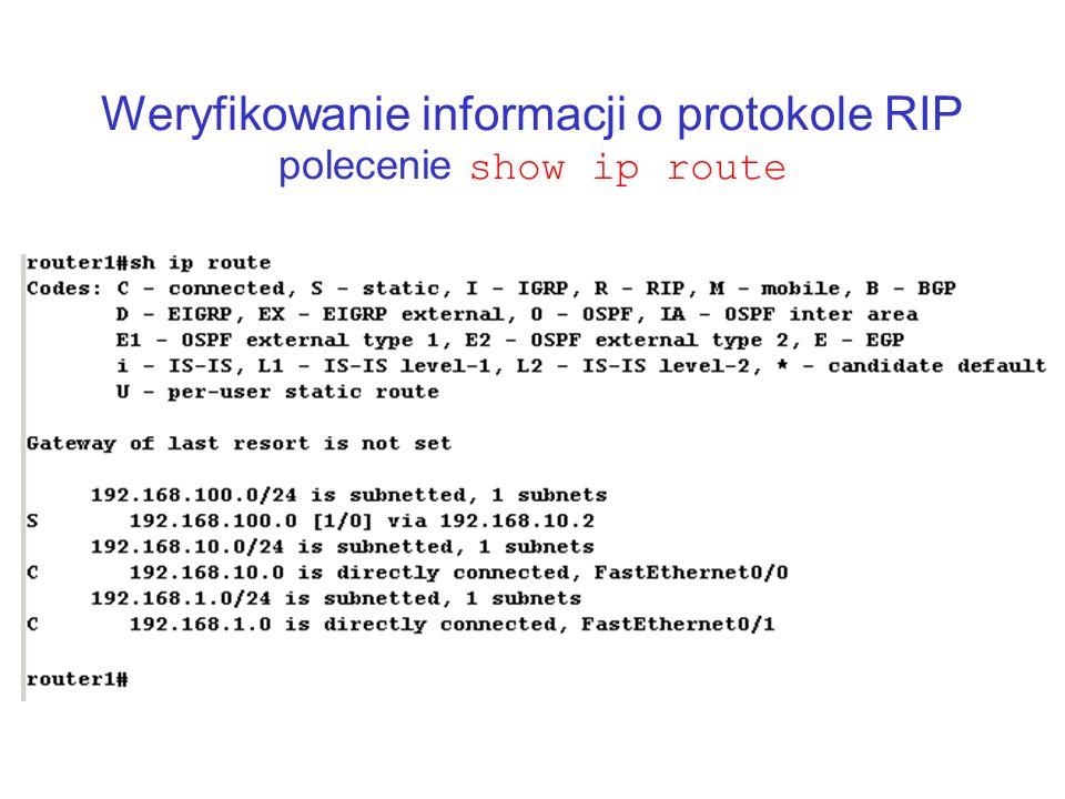 Weryfikowanie informacji o protokole RIP polecenie show ip route