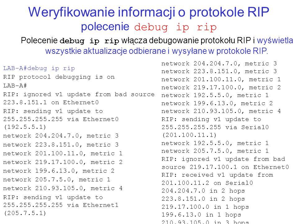 Weryfikowanie informacji o protokole RIP polecenie debug ip rip Polecenie debug ip rip włącza debugowanie protokołu RIP i wyświetla wszystkie aktualiz