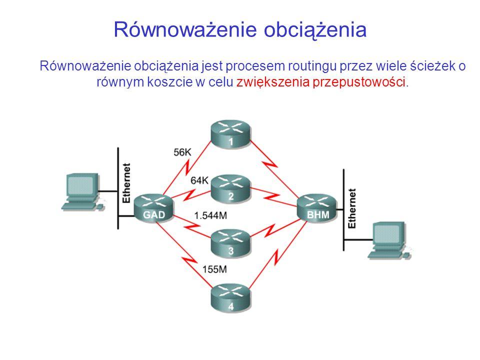 Równoważenie obciążenia Równoważenie obciążenia jest procesem routingu przez wiele ścieżek o równym koszcie w celu zwiększenia przepustowości.