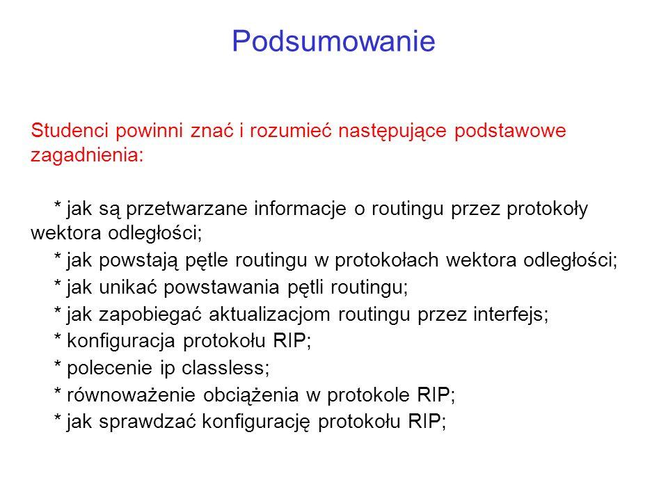 Podsumowanie Studenci powinni znać i rozumieć następujące podstawowe zagadnienia: * jak są przetwarzane informacje o routingu przez protokoły wektora