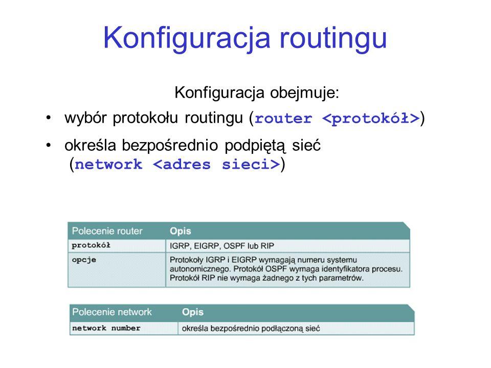 Konfiguracja routingu Konfiguracja obejmuje: wybór protokołu routingu ( router ) określa bezpośrednio podpiętą sieć ( network )