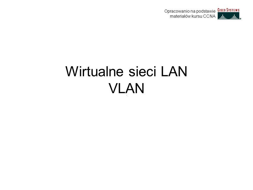 Protokół VTP W przypadku zainstalowania protokołu VTP, każdy przełącznik ogłasza na swoich portach łącza trunkingowego informacje o swojej domenie zarządzania, numer wersji konfiguracji, informacje o znanych sobie sieciach VLAN oraz niektóre parametry tych sieci.