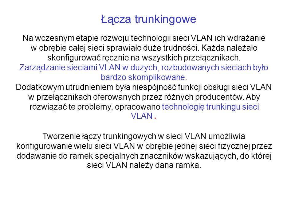 Łącza trunkingowe Na wczesnym etapie rozwoju technologii sieci VLAN ich wdrażanie w obrębie całej sieci sprawiało duże trudności. Każdą należało skonf