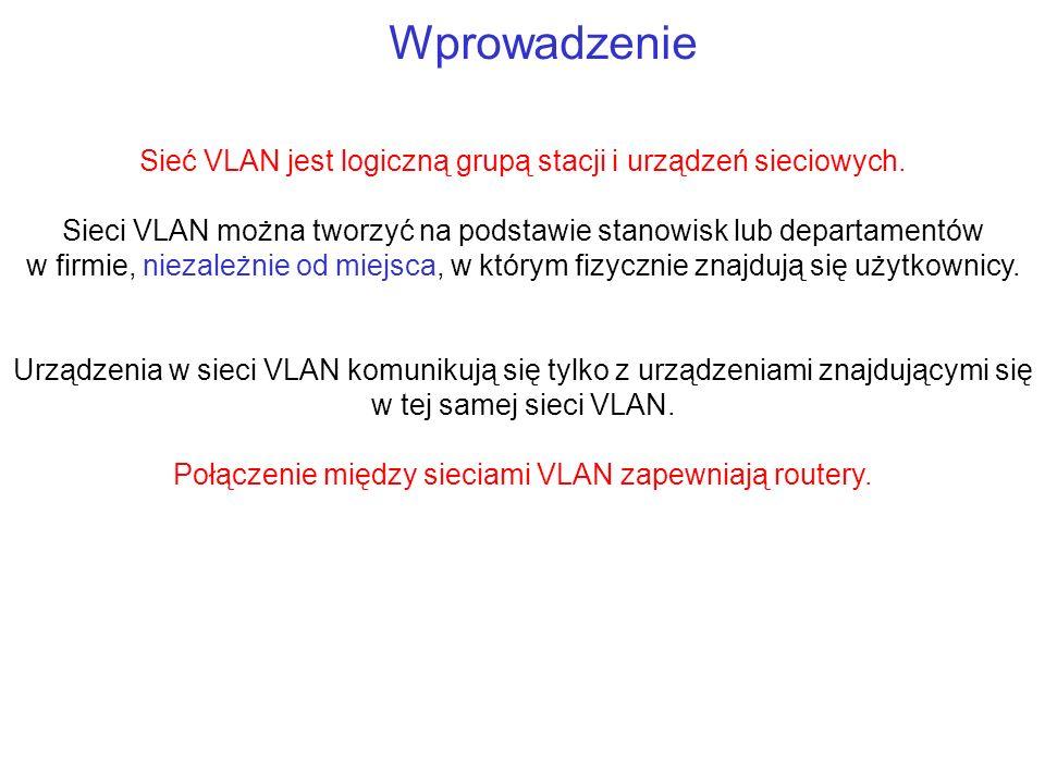 Wprowadzenie Sieć VLAN jest logiczną grupą stacji i urządzeń sieciowych. Sieci VLAN można tworzyć na podstawie stanowisk lub departamentów w firmie, n