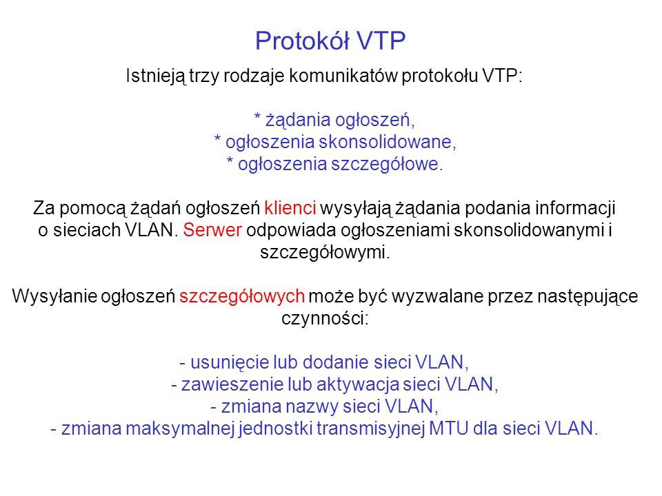Protokół VTP Istnieją trzy rodzaje komunikatów protokołu VTP: * żądania ogłoszeń, * ogłoszenia skonsolidowane, * ogłoszenia szczegółowe. Za pomocą żąd