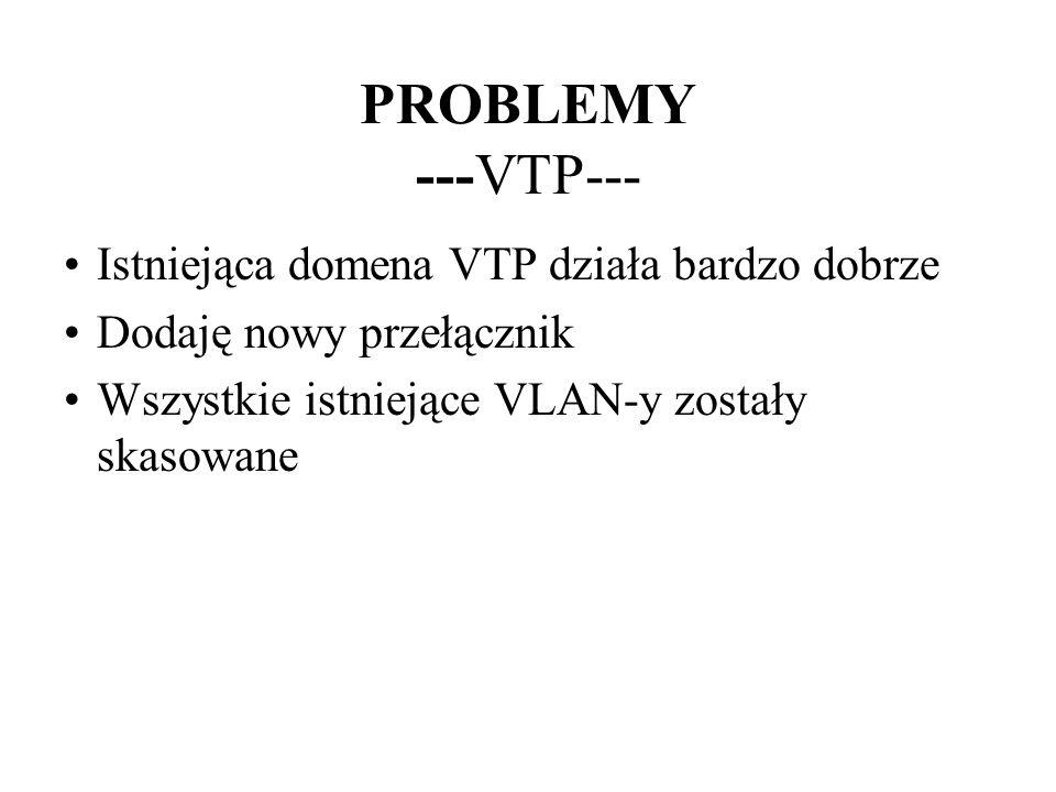 PROBLEMY ---VTP--- Istniejąca domena VTP działa bardzo dobrze Dodaję nowy przełącznik Wszystkie istniejące VLAN-y zostały skasowane