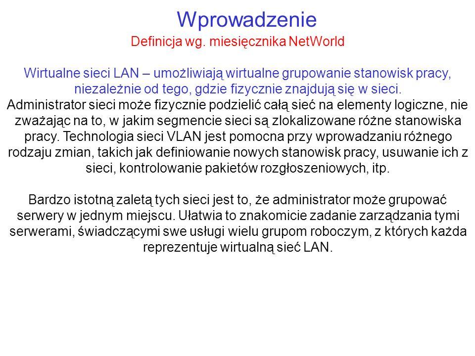 Wprowadzenie Definicja wg. miesięcznika NetWorld Wirtualne sieci LAN – umożliwiają wirtualne grupowanie stanowisk pracy, niezależnie od tego, gdzie fi